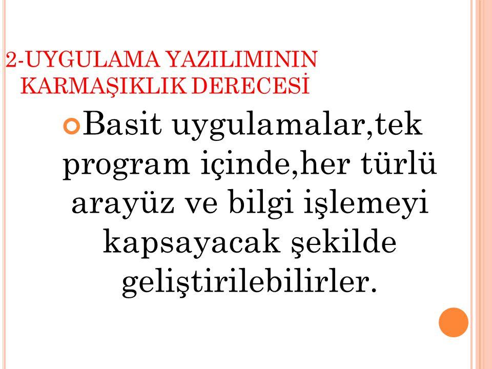 2-UYGULAMA YAZILIMININ KARMAŞIKLIK DERECESİ.