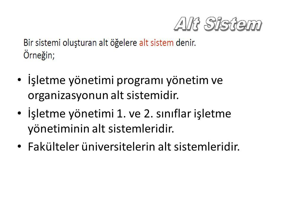 İşletme yönetimi programı yönetim ve organizasyonun alt sistemidir.