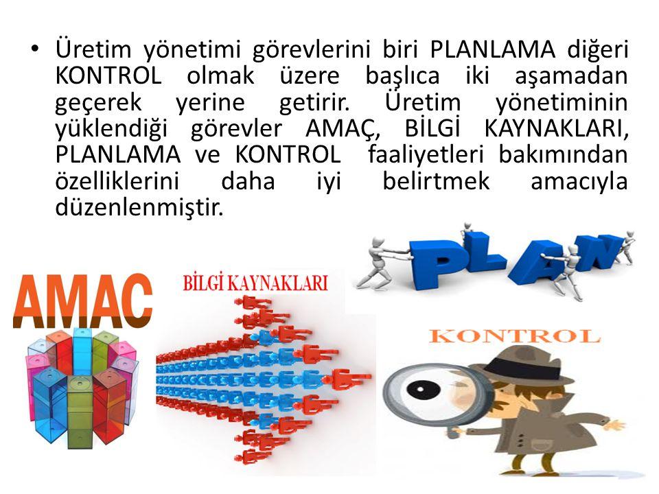 Üretim yönetimi görevlerini biri PLANLAMA diğeri KONTROL olmak üzere başlıca iki aşamadan geçerek yerine getirir.