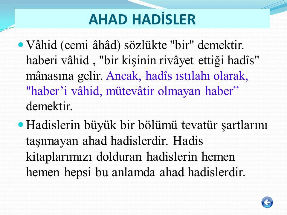 AHAD HADİSLER