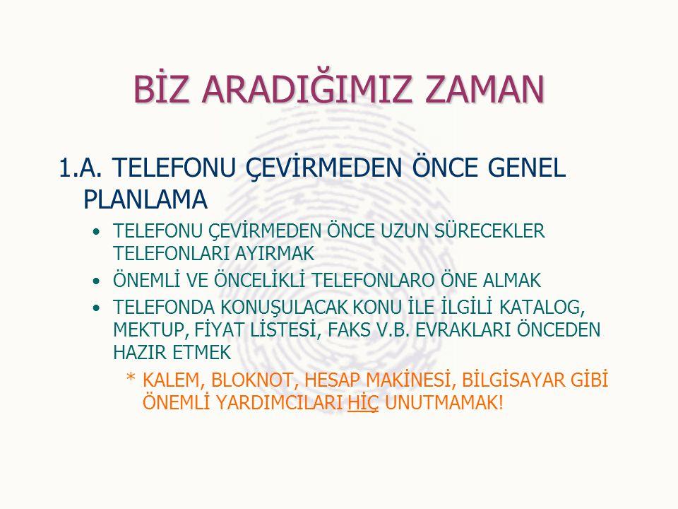 BİZ ARADIĞIMIZ ZAMAN 1.A. TELEFONU ÇEVİRMEDEN ÖNCE GENEL PLANLAMA