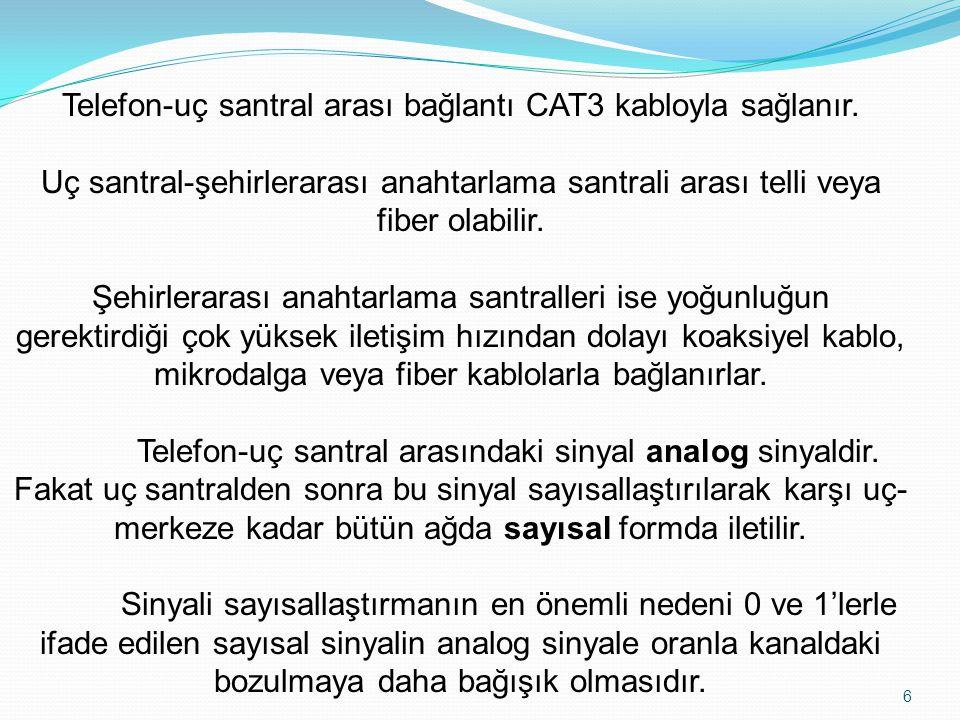 Telefon-uç santral arası bağlantı CAT3 kabloyla sağlanır.