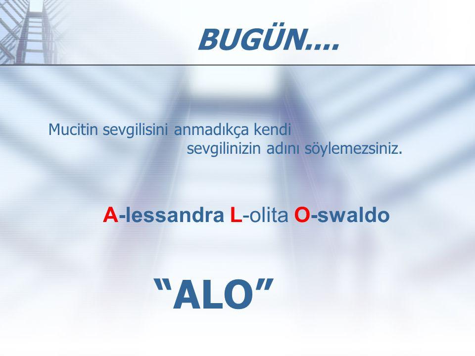 ALO BUGÜN.... A-lessandra L-olita O-swaldo