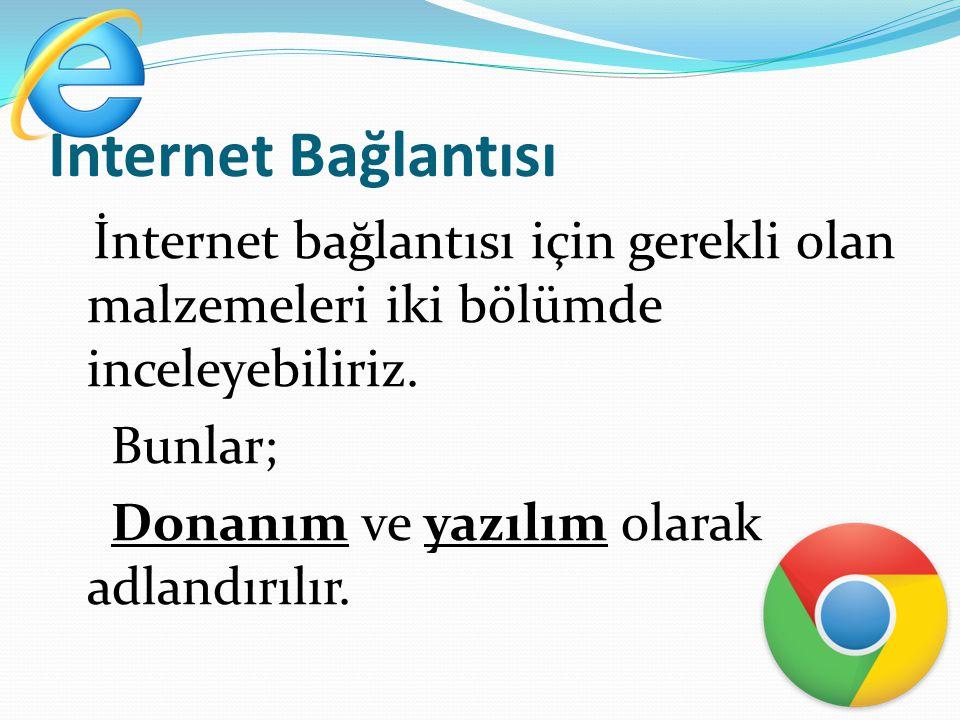 İnternet Bağlantısı Bunlar; Donanım ve yazılım olarak adlandırılır.