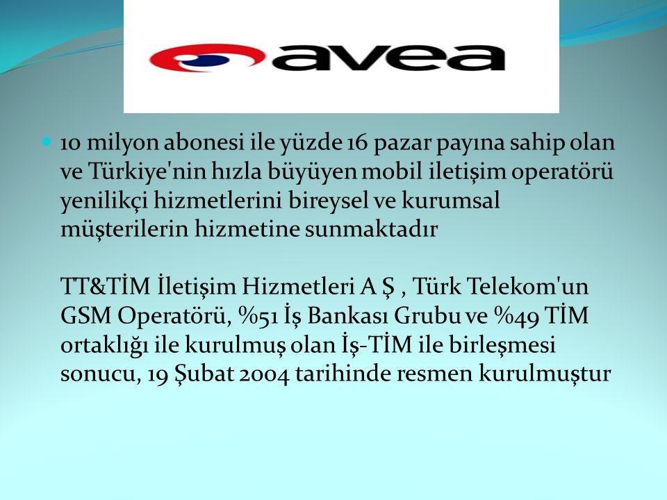 10 milyon abonesi ile yüzde 16 pazar payına sahip olan ve Türkiye nin hızla büyüyen mobil iletişim operatörü yenilikçi hizmetlerini bireysel ve kurumsal müşterilerin hizmetine sunmaktadır TT&TİM İletişim Hizmetleri A Ş , Türk Telekom un GSM Operatörü, %51 İş Bankası Grubu ve %49 TİM ortaklığı ile kurulmuş olan İş-TİM ile birleşmesi sonucu, 19 Şubat 2004 tarihinde resmen kurulmuştur