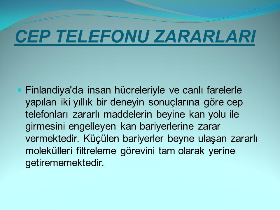CEP TELEFONU ZARARLARI