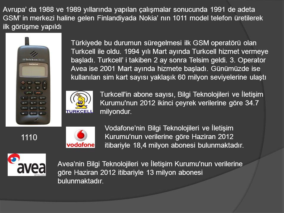 Avrupa' da 1988 ve 1989 yıllarında yapılan çalışmalar sonucunda 1991 de adeta GSM' in merkezi haline gelen Finlandiyada Nokia' nın 1011 model telefon üretilerek ilk görüşme yapıldı