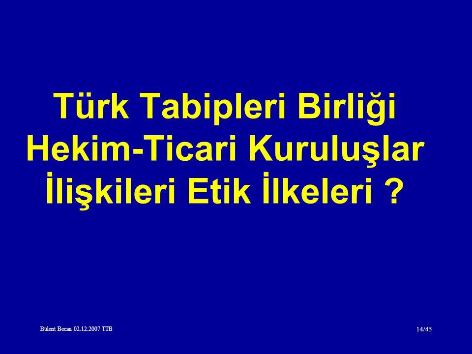 Türk Tabipleri Birliği Hekim-Ticari Kuruluşlar İlişkileri Etik İlkeleri