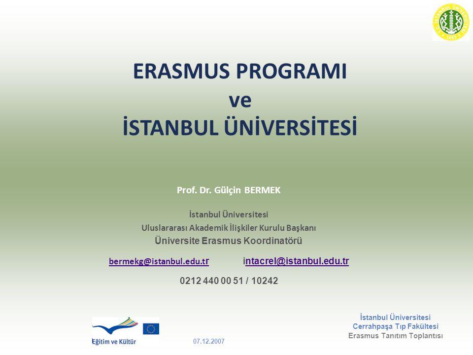 ERASMUS PROGRAMI ve İSTANBUL ÜNİVERSİTESİ