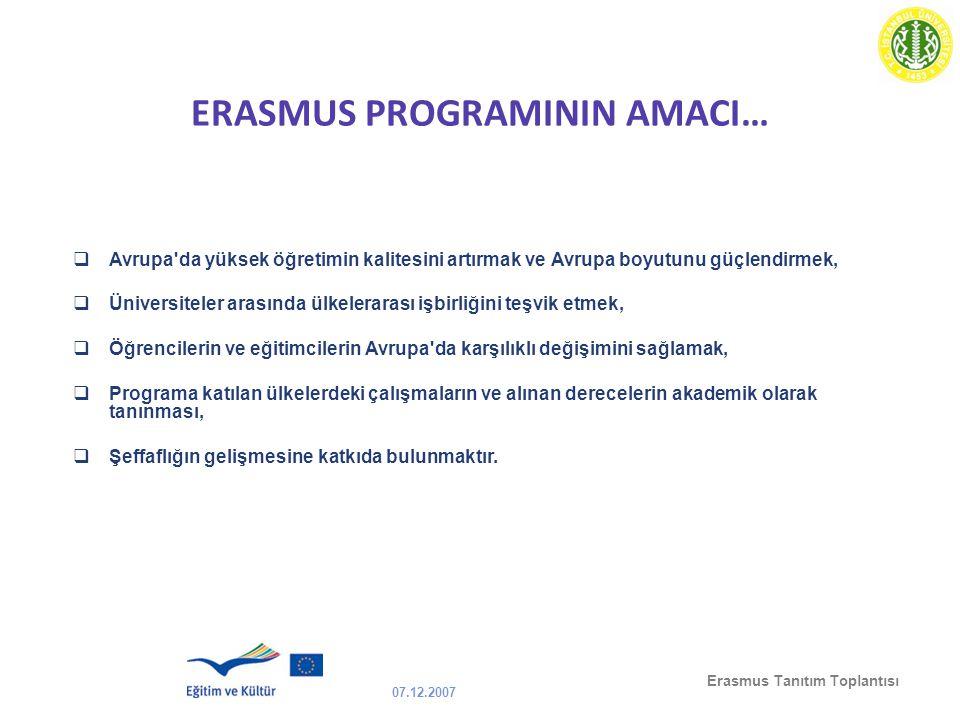 ERASMUS PROGRAMININ AMACI…