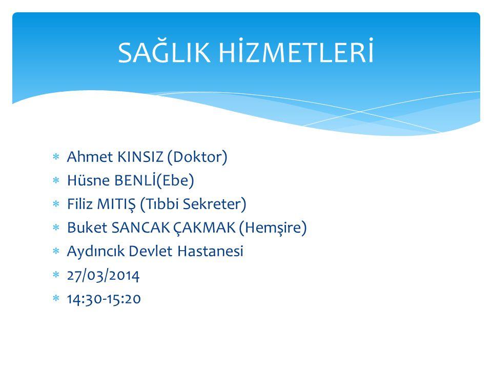 SAĞLIK HİZMETLERİ Ahmet KINSIZ (Doktor) Hüsne BENLİ(Ebe)