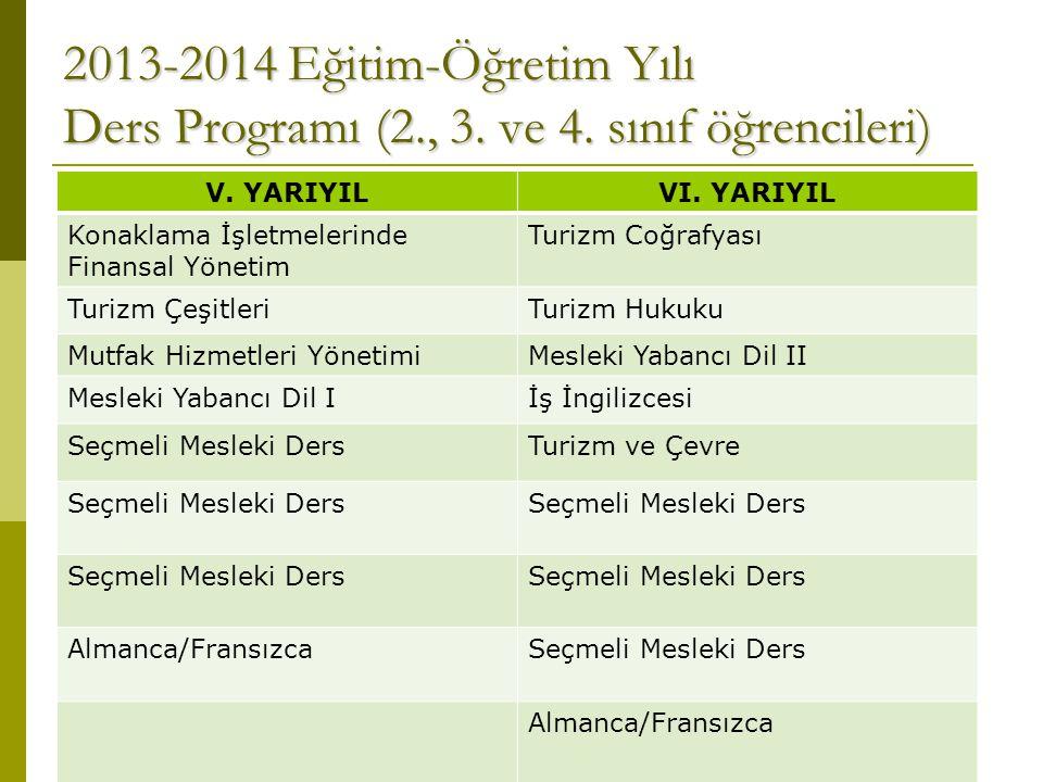 2013-2014 Eğitim-Öğretim Yılı Ders Programı (2. , 3. ve 4