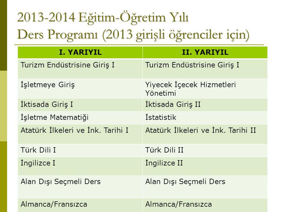 2013-2014 Eğitim-Öğretim Yılı Ders Programı (2013 girişli öğrenciler için)