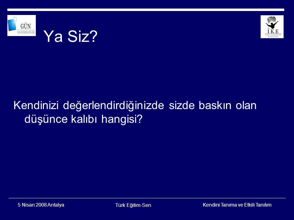 Ya Siz Kendinizi değerlendirdiğinizde sizde baskın olan düşünce kalıbı hangisi 5 Nisan 2008 Antalya.