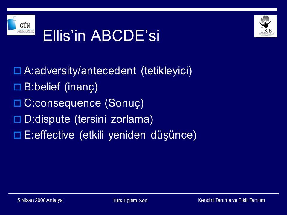 Ellis'in ABCDE'si A:adversity/antecedent (tetikleyici)
