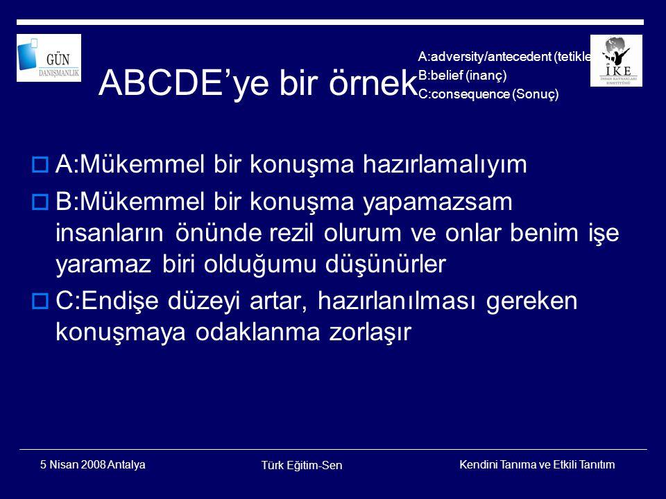 ABCDE'ye bir örnek A:Mükemmel bir konuşma hazırlamalıyım