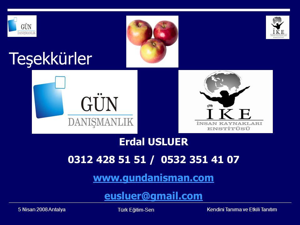 Teşekkürler Erdal USLUER 0312 428 51 51 / 0532 351 41 07