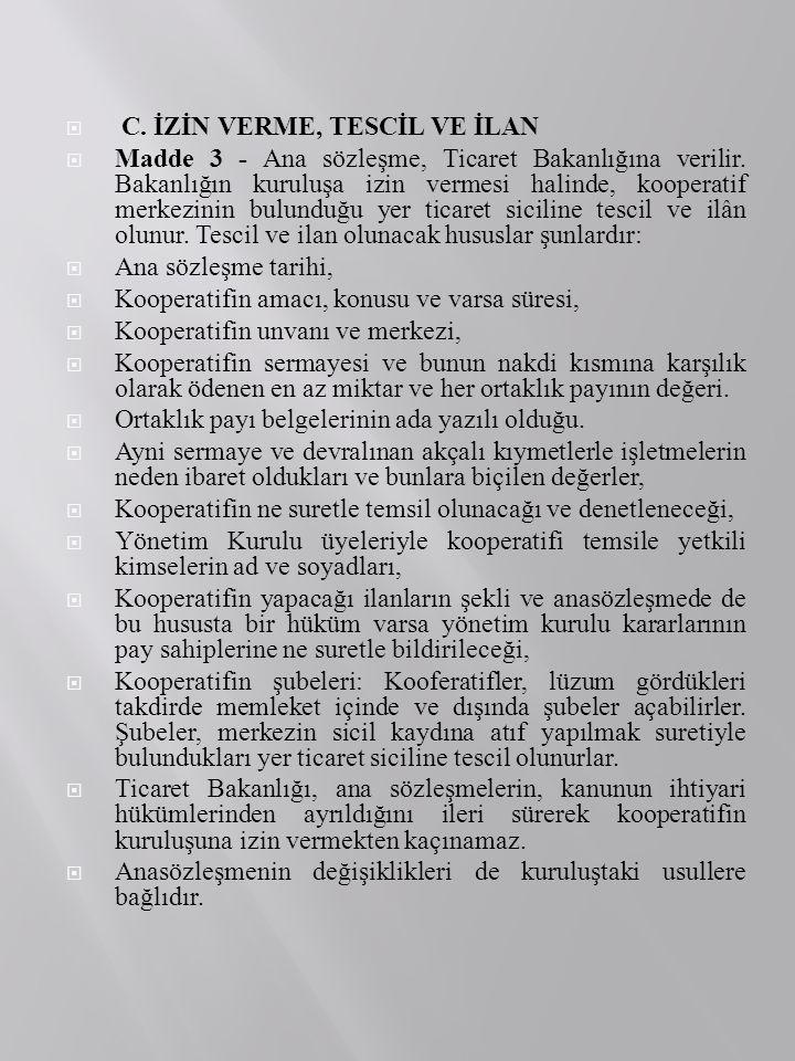 C. İZİN VERME, TESCİL VE İLAN