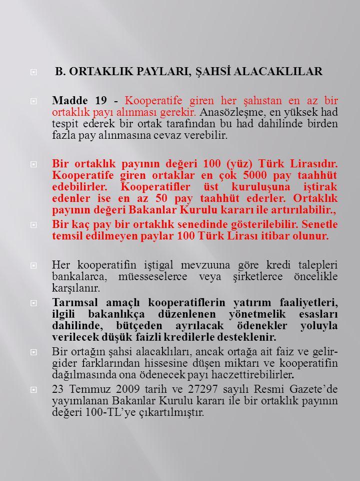 B. ORTAKLIK PAYLARI, ŞAHSİ ALACAKLILAR