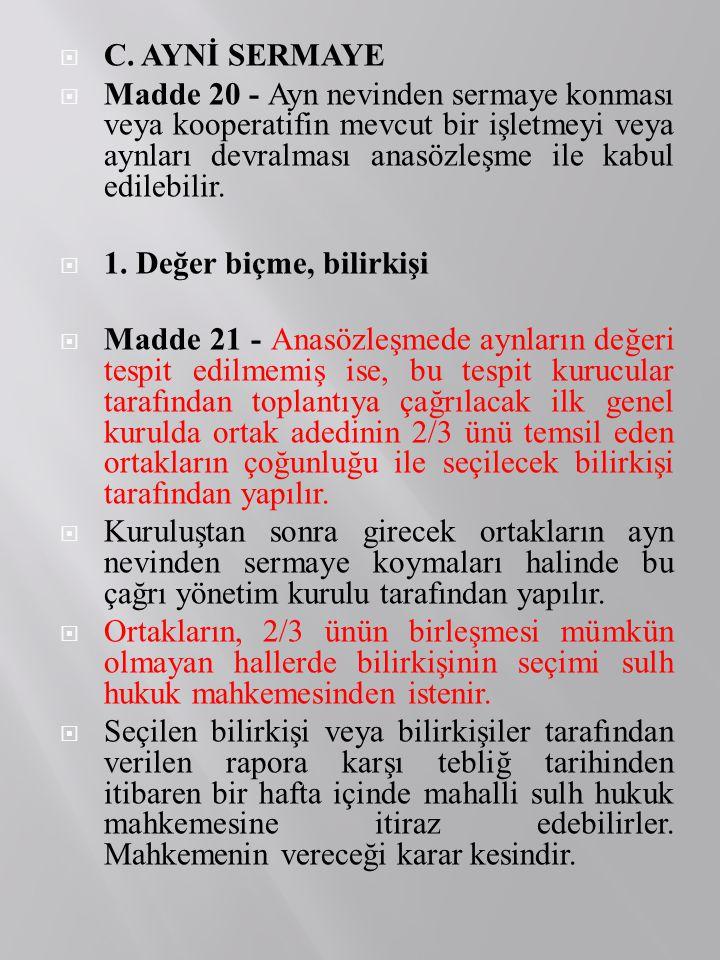 C. AYNİ SERMAYE