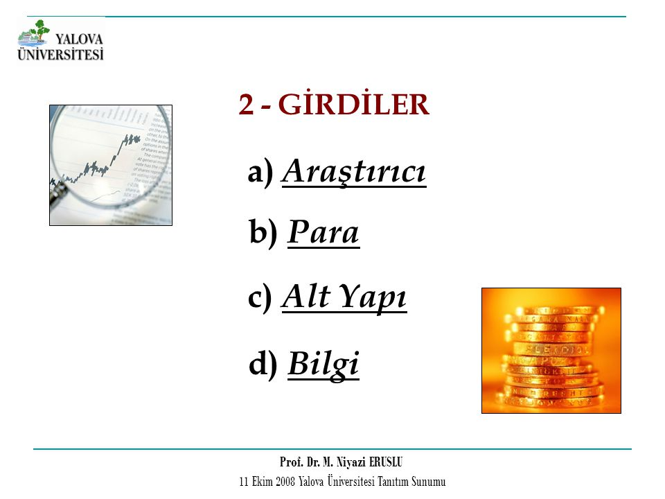 2 - GİRDİLER a) Araştırıcı b) Para c) Alt Yapı d) Bilgi