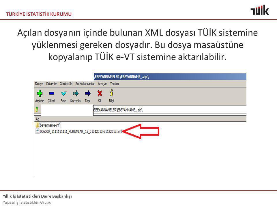 Açılan dosyanın içinde bulunan XML dosyası TÜİK sistemine yüklenmesi gereken dosyadır.