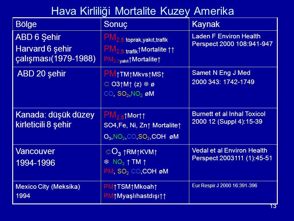 Hava Kirliliği Mortalite Kuzey Amerika