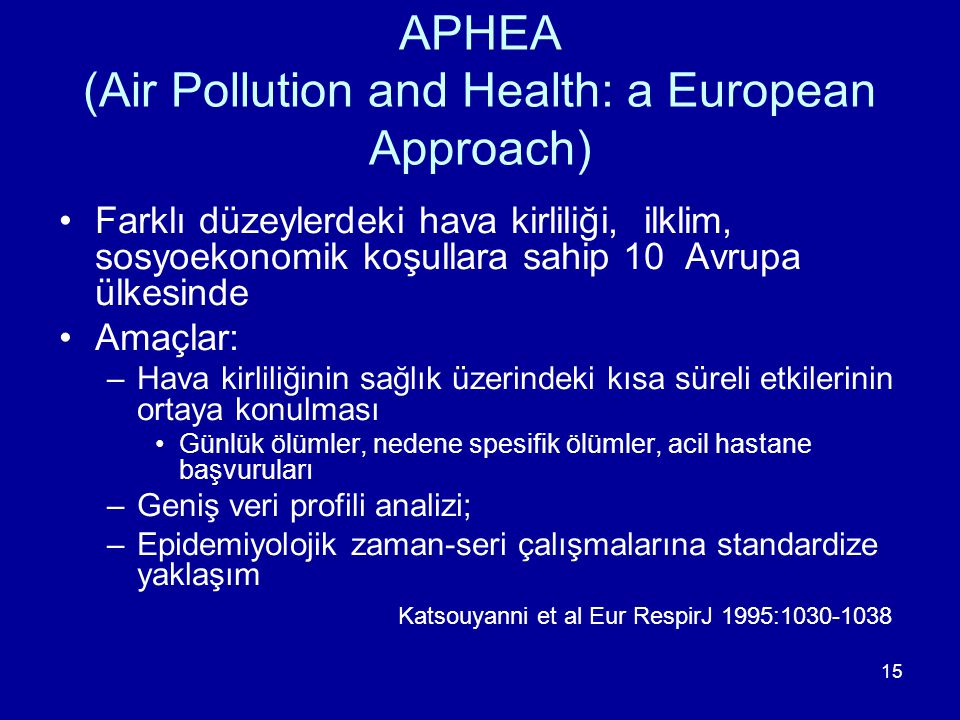 APHEA (Air Pollution and Health: a European Approach)