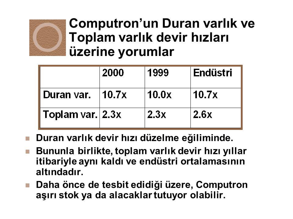 Computron'un Duran varlık ve Toplam varlık devir hızları üzerine yorumlar
