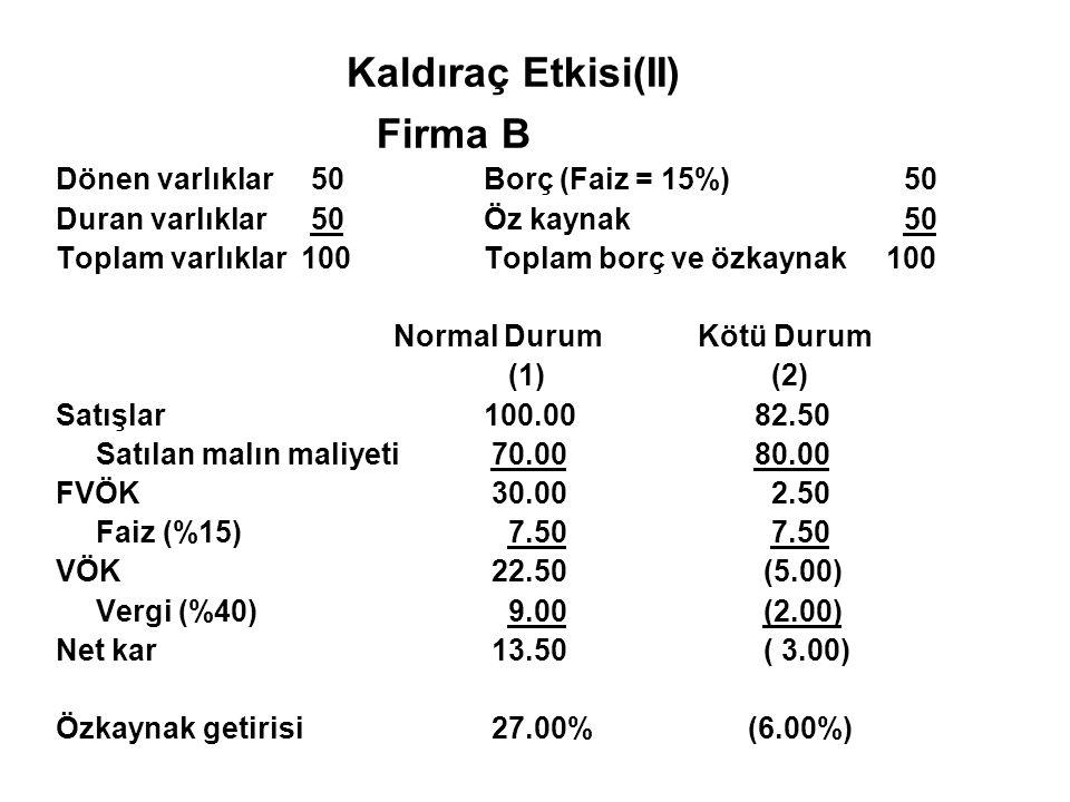 Kaldıraç Etkisi(II) Firma B Dönen varlıklar 50 Borç (Faiz = 15%) 50