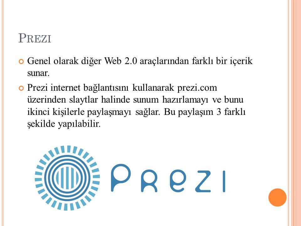 Prezi Genel olarak diğer Web 2.0 araçlarından farklı bir içerik sunar.