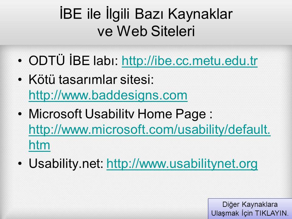 İBE ile İlgili Bazı Kaynaklar ve Web Siteleri