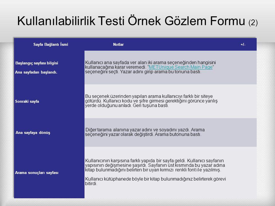 Kullanılabilirlik Testi Örnek Gözlem Formu (2)