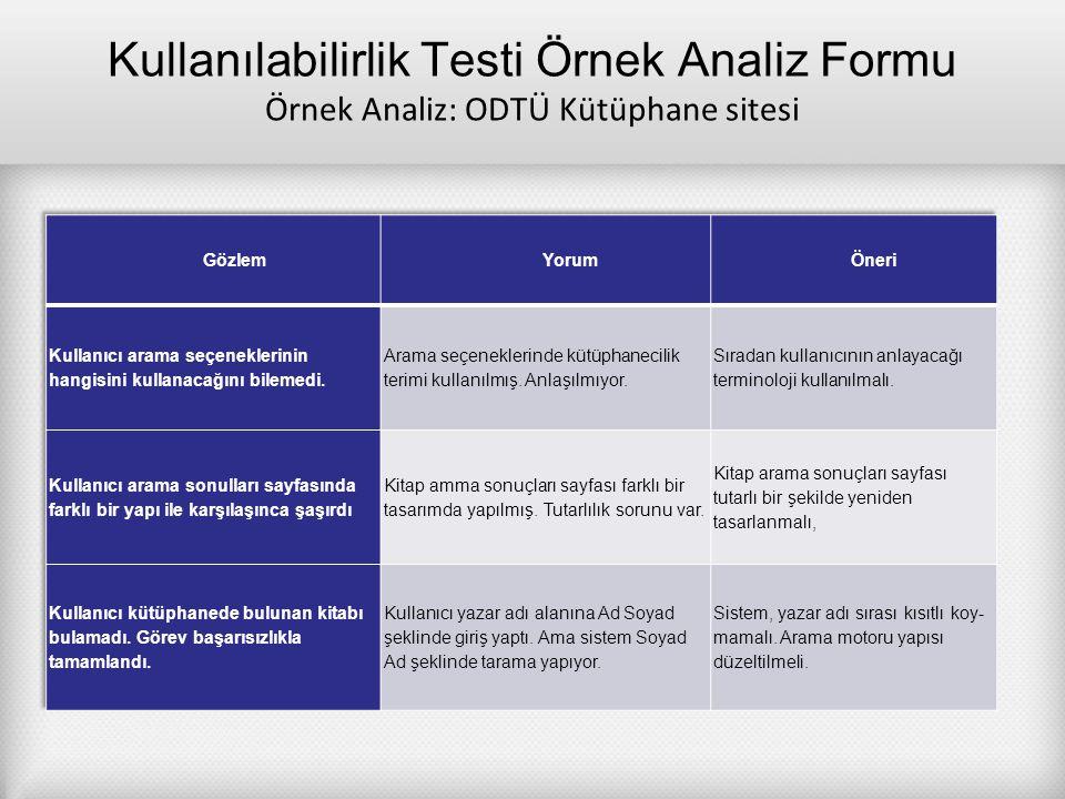 Kullanılabilirlik Testi Örnek Analiz Formu Örnek Analiz: ODTÜ Kütüphane sitesi