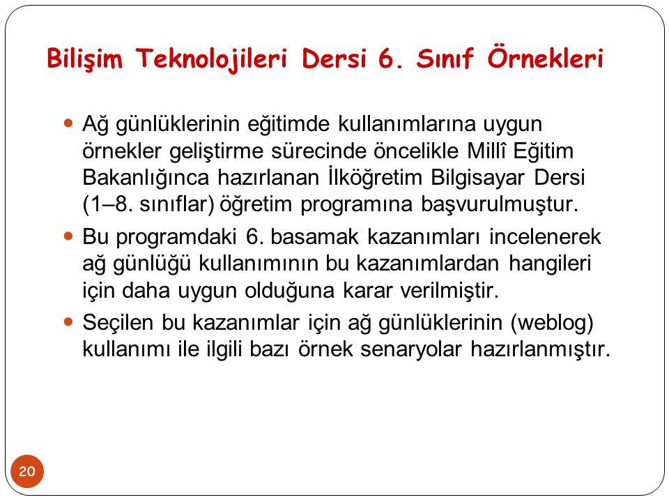Bilişim Teknolojileri Dersi 6. Sınıf Örnekleri