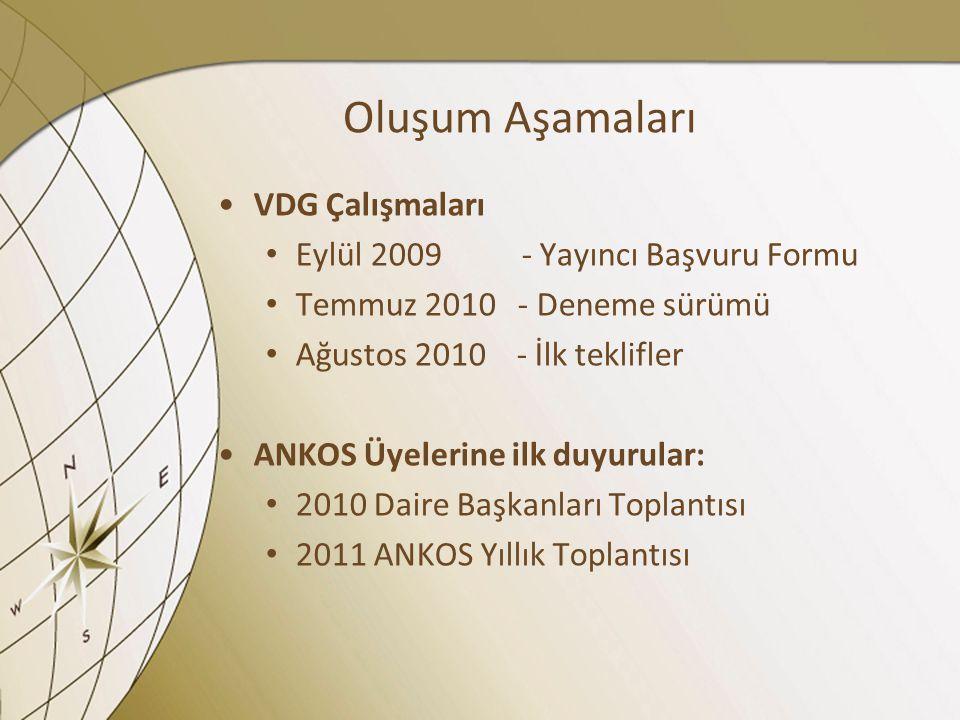 Oluşum Aşamaları VDG Çalışmaları Eylül 2009 - Yayıncı Başvuru Formu
