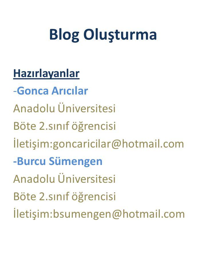 Blog Oluşturma