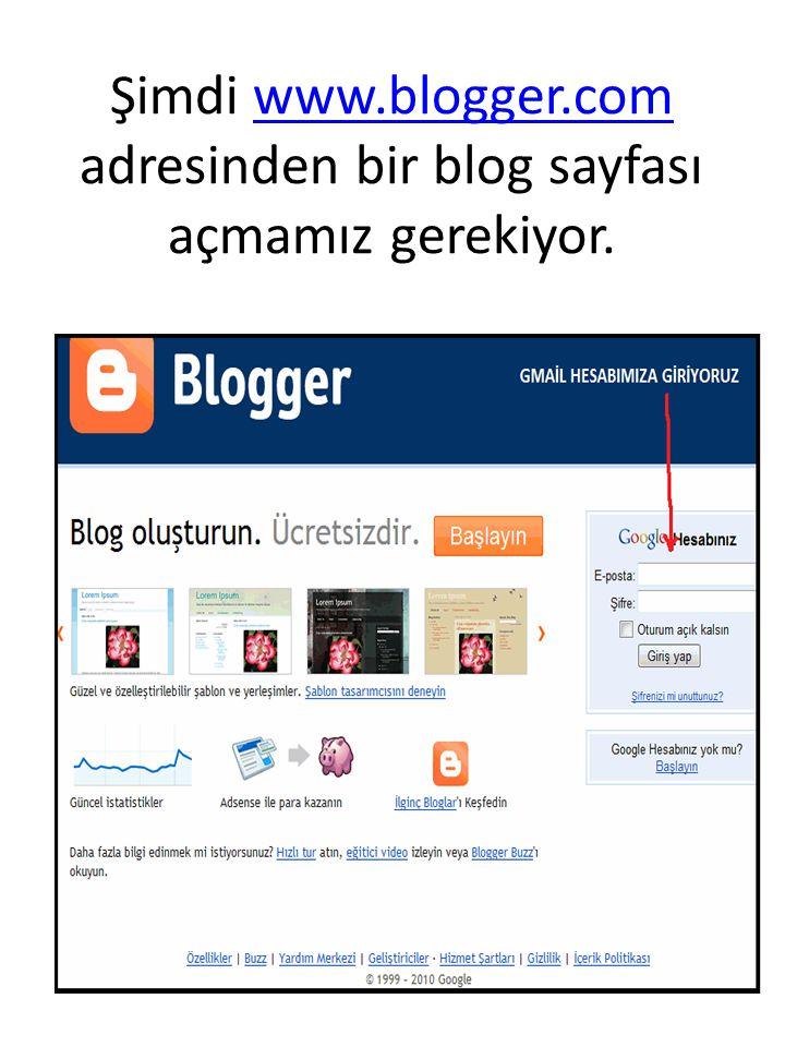 Şimdi www.blogger.com adresinden bir blog sayfası açmamız gerekiyor.