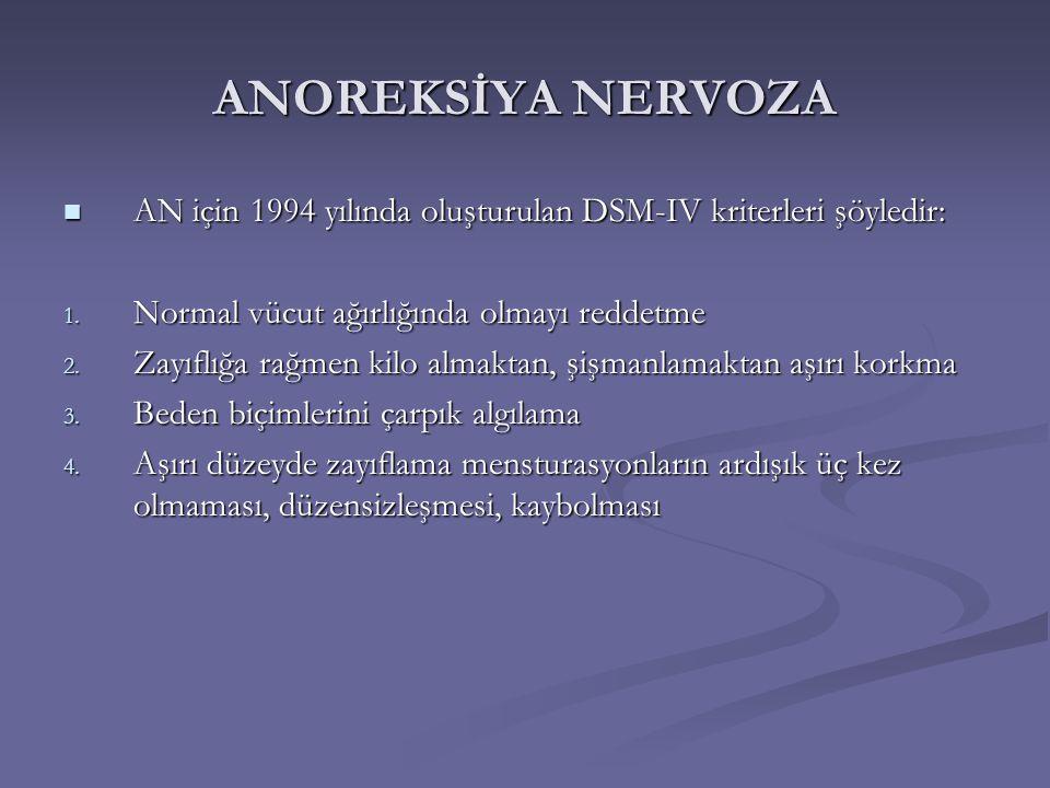 ANOREKSİYA NERVOZA AN için 1994 yılında oluşturulan DSM-IV kriterleri şöyledir: Normal vücut ağırlığında olmayı reddetme.