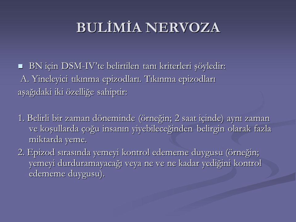 BULİMİA NERVOZA BN için DSM-IV'te belirtilen tanı kriterleri şöyledir: