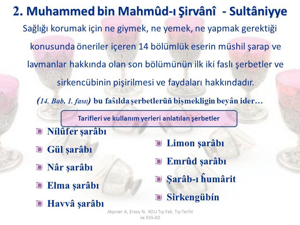 2. Muhammed bin Mahmûd-ı Şirvânî - Sultâniyye