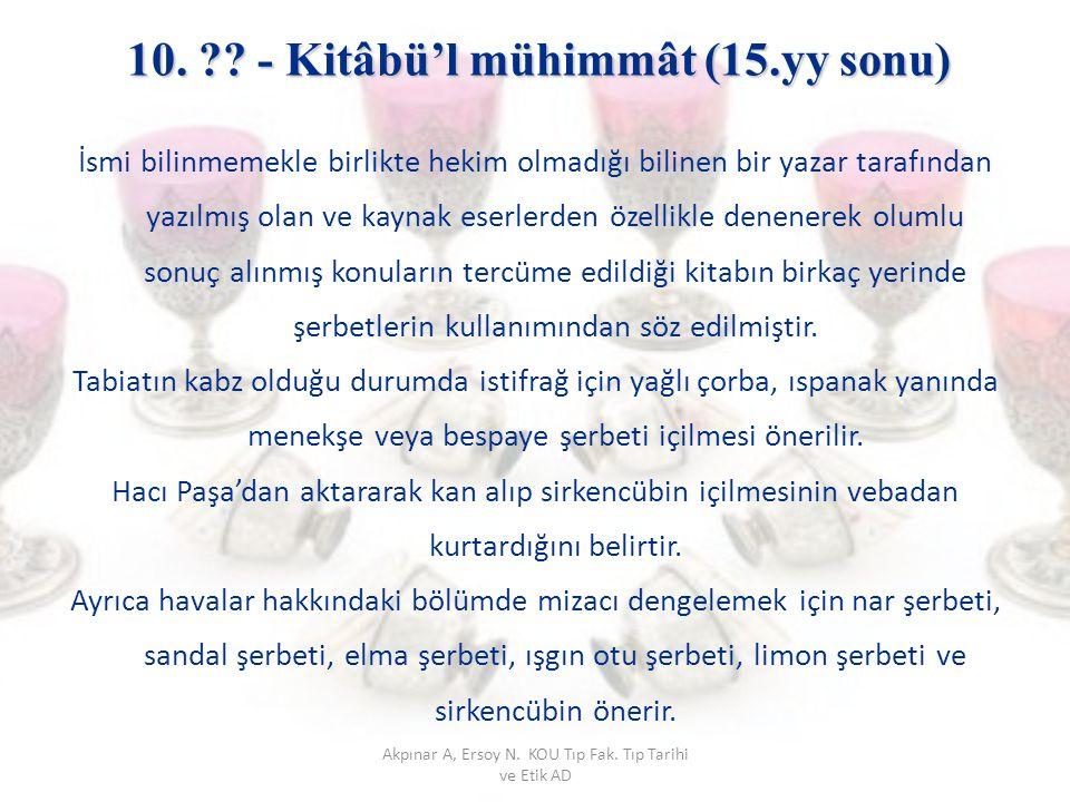 10. - Kitâbü'l mühimmât (15.yy sonu)