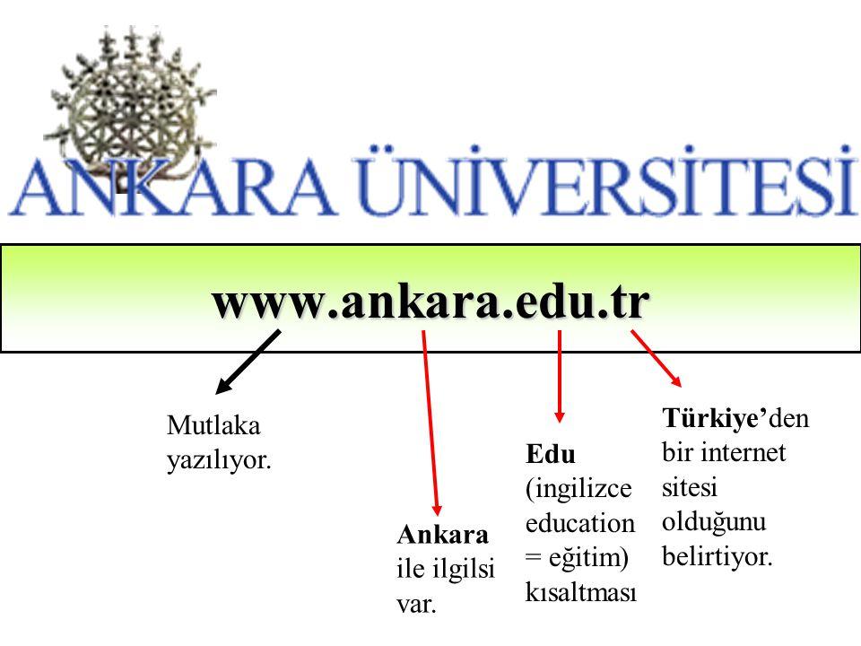 www.ankara.edu.tr Türkiye'den bir internet sitesi olduğunu belirtiyor.