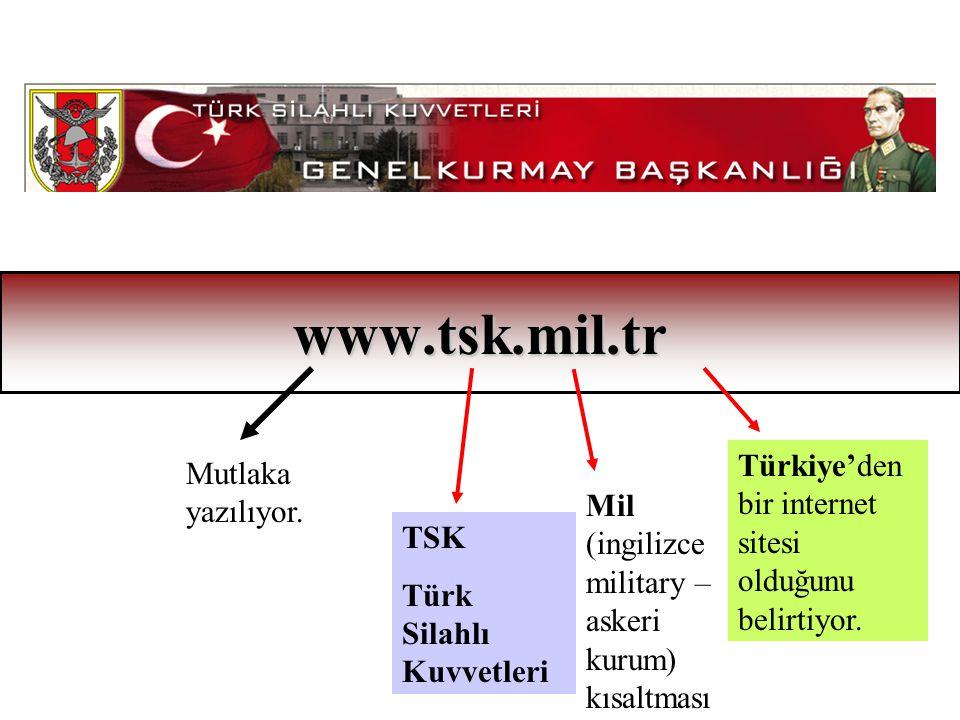 www.tsk.mil.tr Türkiye'den bir internet sitesi olduğunu belirtiyor.
