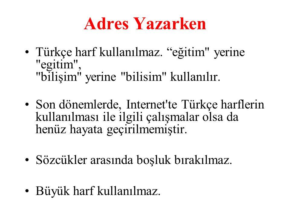 Adres Yazarken Türkçe harf kullanılmaz. eğitim yerine egitim , bilişim yerine bilisim kullanılır.