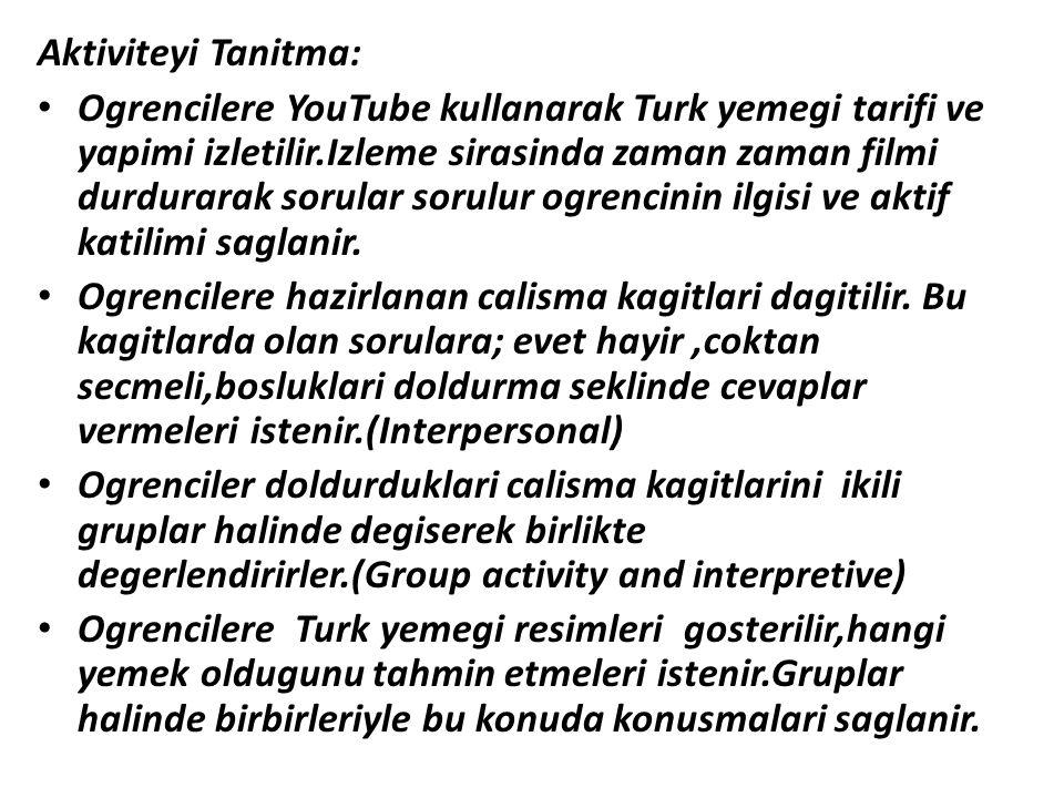 Aktiviteyi Tanitma: