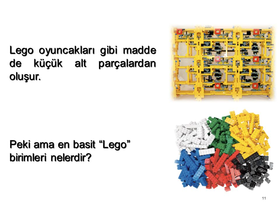 Lego oyuncakları gibi madde de küçük alt parçalardan oluşur.