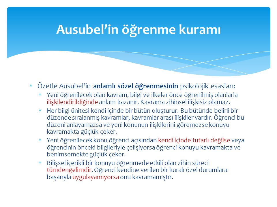 Ausubel'in öğrenme kuramı