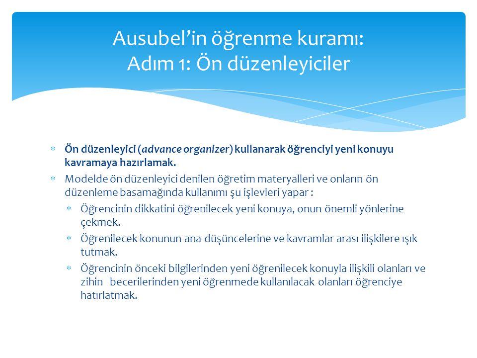 Ausubel'in öğrenme kuramı: Adım 1: Ön düzenleyiciler