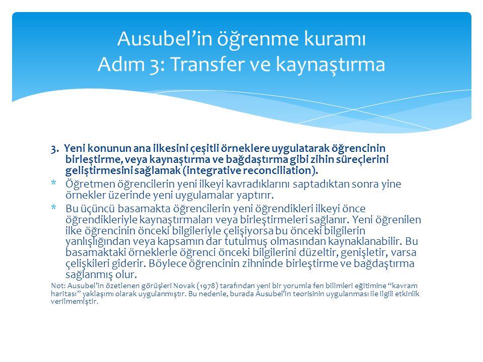 Ausubel'in öğrenme kuramı Adım 3: Transfer ve kaynaştırma